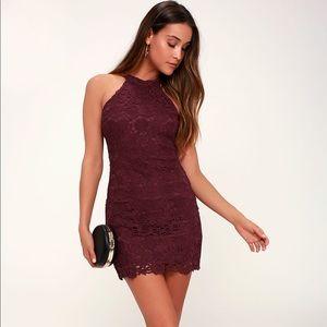 Lulus love poem burgundy lace  dress